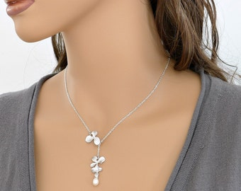 Orchid necklace, lariat, flowers 1&2, pearl, delicate holidays gift, bridesmaid wedding jewelry, everyday, by balance9
