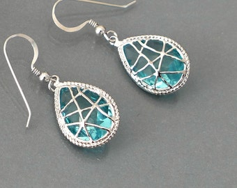 blue crystal earrings, crystal drop earrings, holidays gift, framed aqua blue glass dangle, sterling silver ear wire jewelry, by balance9