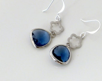 Montana blue earrings, silver framed glass crystal drop dangle, delicate flower, everyday jewelry, holidays gift, by balance9