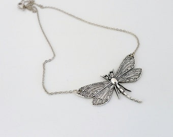 Dragonfly Necklace, holidays gift, Antique silver charm necklace, pendant, everyday jewelry, by balance9