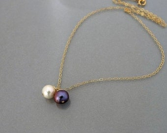 Pearl Necklace, wire wrapped iris purple, ivory white, pendant, 14k gold filled chain jewelry, friendship, wedding, by balance9