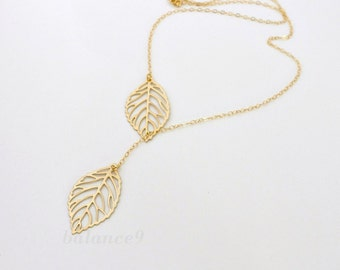 Gold Leaf Necklace, filigree leaf necklace, dainty lariat jewelry, gold filled chain, friendship bridesmaid wedding gift, by balance9