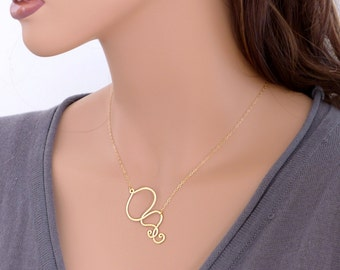 Gold necklace, Scroll curve modern chic pendant, 14k gold filled chain, everyday jewelry, wedding, bridesmaid, holidays gift, by balance9