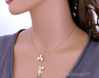 Gold orchid necklace, lariat, 1&2 flowers charm pendant, copper pearl, delicate bridesmaid wedding jewelry, by balance9