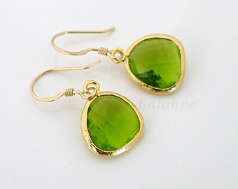 Green Crystal Earrings, framed glass crystal drop dangle, gold filled earwire, delicate everyday jewelry, christmas gift, by balance9
