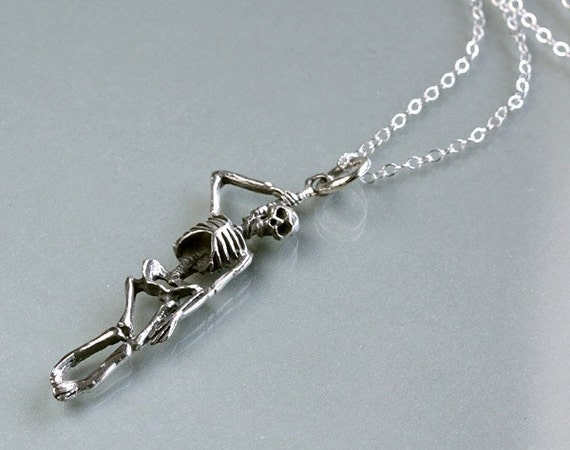 Halloween Skeleton Necklace, Oxidized Sterling silver charm pendant, day of the dead, by balance9
