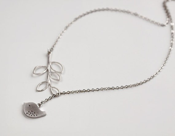 Bird Necklace, Silver branch necklace, Bird pendant lariat, delicate gift jewelry, everyday, wedding, holidays, by balance9