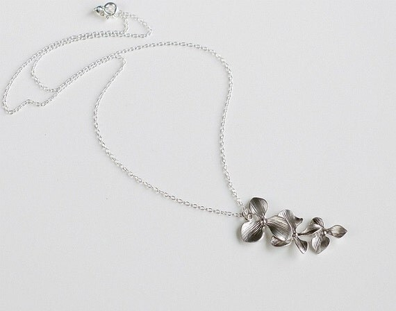 Orchid Necklace, Sterling silver chain, Cascade flowers charm pendant, delicate, bridesmaid gift wedding jewelry, by balance9