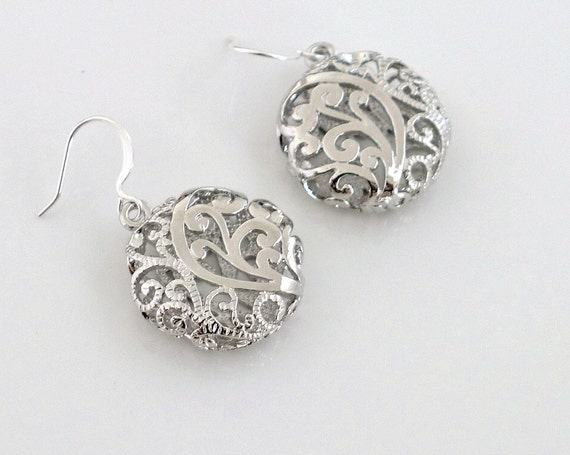Filigree Cage Earrings, silver filigree flower cage charm dangle, delicate jewelry, by balance9