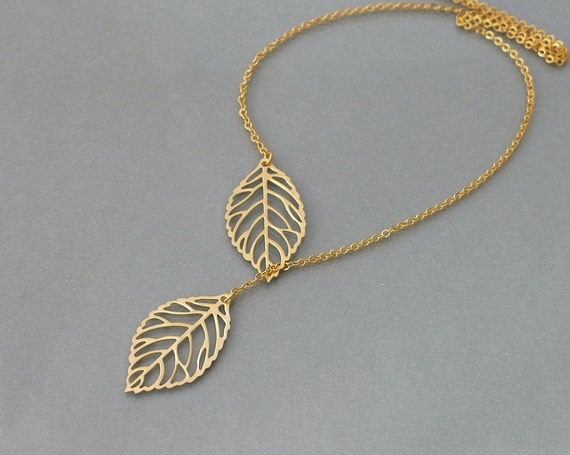 Gold Leaf necklace, leafy charm lariat, delicate everyday jewelry, wedding, bridesmaids gift, by balance9