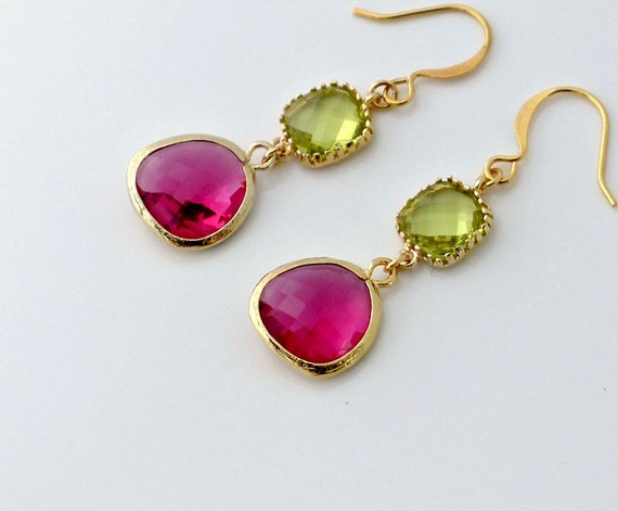Fuchsia Peridot Earrings, gold framed glass crystal drop dangle, delicate everyday jewelry, holidays gift, by balance9