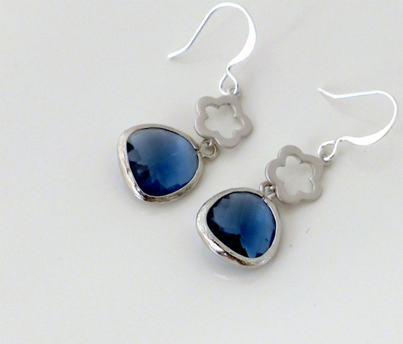 Crystal earrings, Montana blue earrings, dainty flower silver framed crystal dangle, everyday jewelry, holidays gift, by balance9