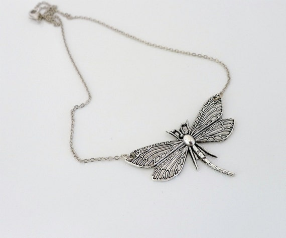 Dragonfly Necklace, Antique silver charm necklace, pendant, holidays gift, everyday jewelry, by balance9