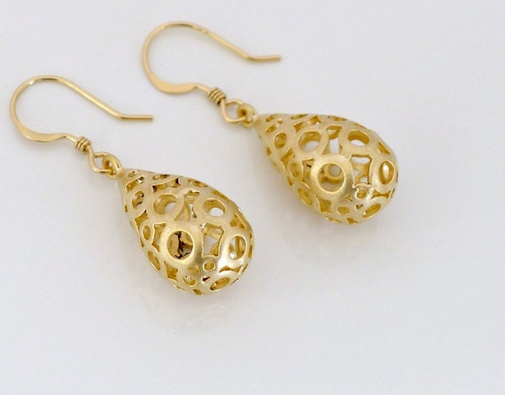 Bubble drop earrings, Filigree dangle earrings, gold filled ear wire, delicate everyday jewelry, bridesmaid wedding gift, by balance9