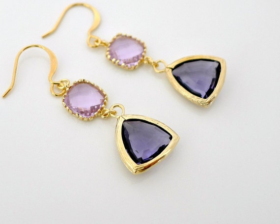 Tanzanite Earrings, Lavender, Gold framed glass crystal drop dangle, delicate holidays gift everyday jewelry, by balance9