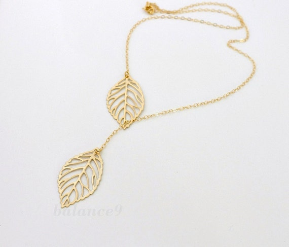 Gold Leaf Necklace, dainty filigree leaf necklace, gold filled chain, lariat jewelry, friendship bridesmaid wedding gift, by balance9