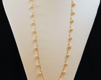 Grade AAA fresh water pearl drops necklace, 14K gold filled necklace, long necklace, double layer necklace