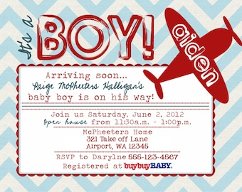 Printable Vintage Airplane baby shower invitation -- A Custom  Digital invite or Printed for you