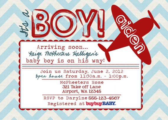Printable POSTCARD Vintage Airplane baby shower invitation -- A Custom postcard Digital or Printed for you