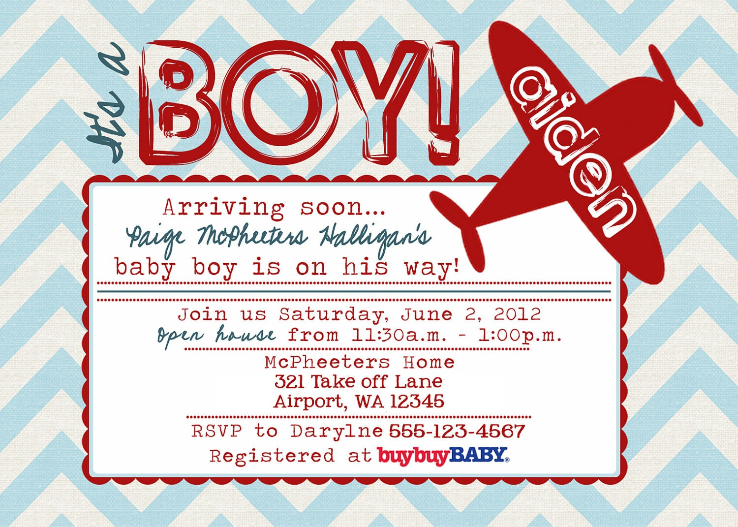 printable postcard vintage airplane baby shower by digigoose