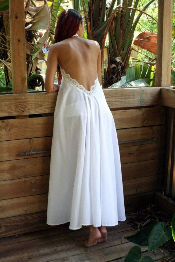 100% Cotton White Backless Nightgown Lace Halter Bridal Night Gown Bridal Lingerie Wedding Lingerie Sleepwear Honeymoon