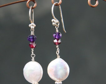 Pearl, Amethyst and Garnet Earrings