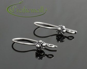 2 Sterling Silver Earwires - Small Round Bali Ornament 20mm / 0.8 Inch - bfew006-z