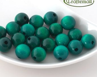 Wooden Beads - Round - Teal 16mm - 10 Beads