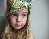 Bandana style headband - Floral Fabric Little girl headband - boho Tie up headband - Turquoise green flower - Toddler headband