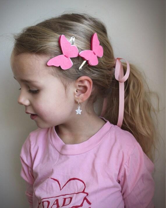 Butterfly Hair Clips . Pink Hair Clips .  little girl hair clips . Pink Butterfly hair clips . Butterfly . Felt butterfly .