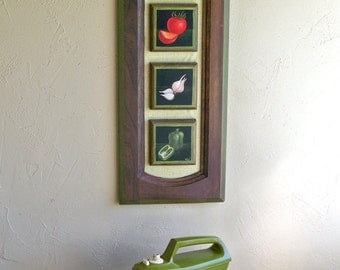 "1970's Tole Painting on Kitchen Cabinet Door ""Fun With Vegetables"""