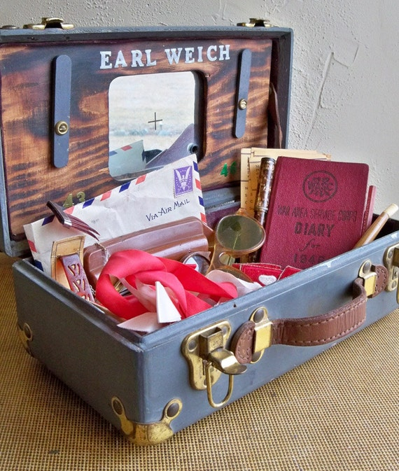 "World War II U.S. GI's Box with Personal Effects  ""A Solidiers Handmade Memory Box"""