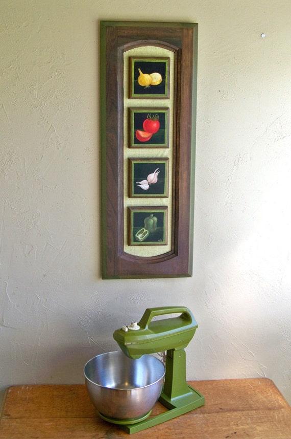 1970's Tole Painting on Kitchen Cabinet Door Fun