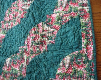 Quilted Tablerunner Monet's Garden Path Green Pinks Floral Flowers.