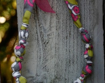 Gray, Lime and Hot Pink-Mommy and Baby Teething/Nursing Necklace