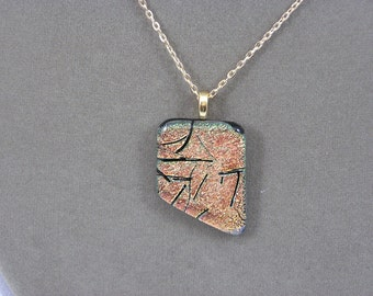 Peach/Gold Color Fused Glass Dichroic Angle Necklace NE110052