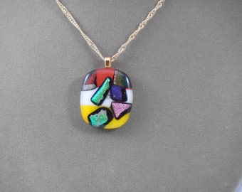 Red, White & Yellow Multi Color Fused Dichroic Glass Necklace NE400002