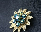 Beautiful golden snow star brooch