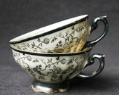 The two black cups. Pair of vintage porcelain teacups. - MademoiselleChipotte