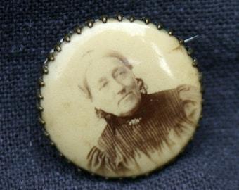 Grandma is having fun. Antique photo brooch.