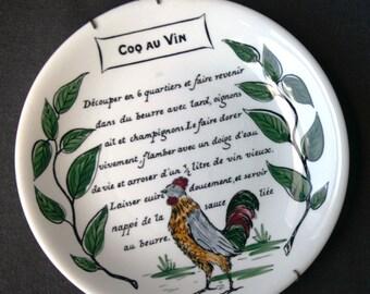 Coq au vin. Vintage French recipe deco plate. Cottage Chic decor.