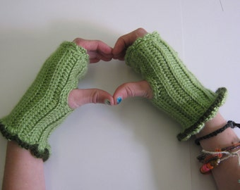 Romantic Ruffled Fingerless Gloves in Sage-Ready To Ship