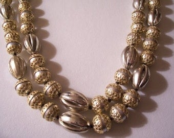 Double Strand Necklace Gold Silver Tone Vintage Hong Kong Filigree Grey Beads