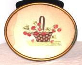 Strawberry Picnic Basket Embroidery, Framed Cross Stitch, Vintage