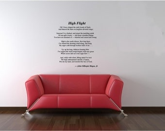 Wall Decals Wall Words Art Wall Stickers Vinyl Lettering - High Flight Poem