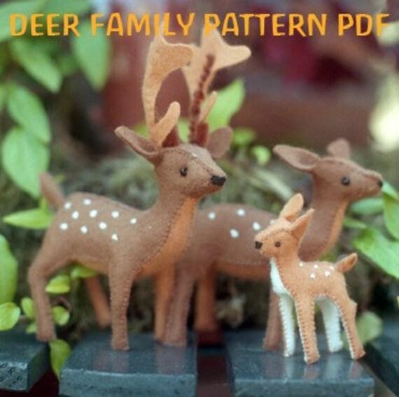 DEER Family Pattern PDF, Felt Sewing Pattern