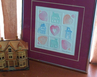 Vintage Framed Hand-Colored Etching Hearts & Houses by Mary Dinkins - Signed, Numbered