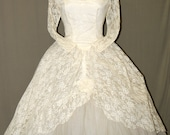 1950's Off White Lace Tea Length-Long Sleeved- Wedding- Party- Prom Dress- Ballerina- Formal- Cupcake-Tulle- Tiered-Rockabilly
