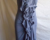 Gray Ruffle Jersey Dress mid length dress, drapes just below knee,hangs longer in back,Size 0-16 made to order