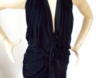 V neck halter dress drapes in front, knee length,shorter or floor length,back drapes nicely,all sizes made